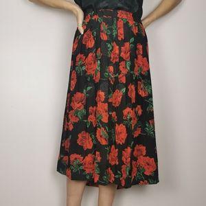 Vintage Andrea Gayle large floral midi skirt